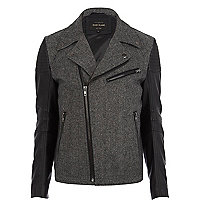 Black smart contrast sleeve biker jacket