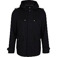 Navy smart parka jacket