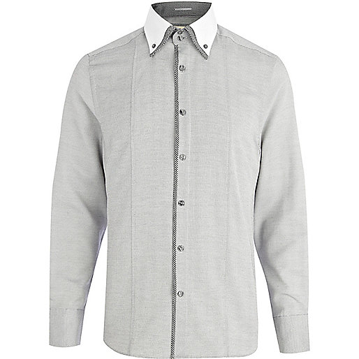Grey contrast panel double collar shirt