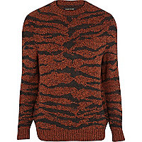 Orange tiger print jumper