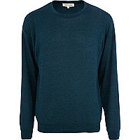 Blue long sleeve textured sweater