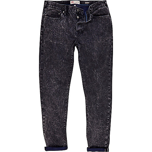 Black acid wash Flynn skinny jeans