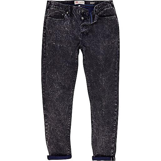 Black acid wash Flynn skinny jeans