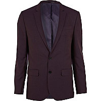 Berry red skinny suit jacket