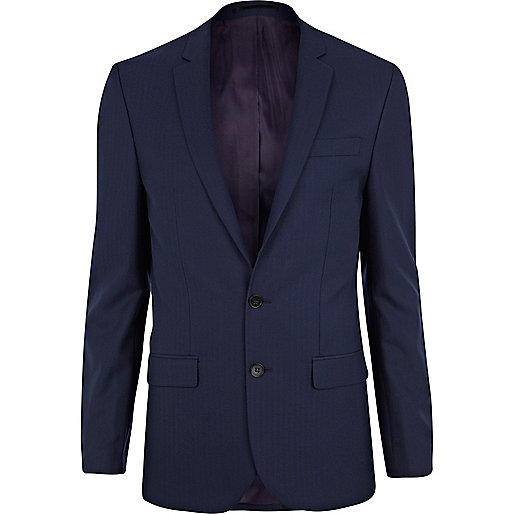 Navy herringbone skinny suit jacket