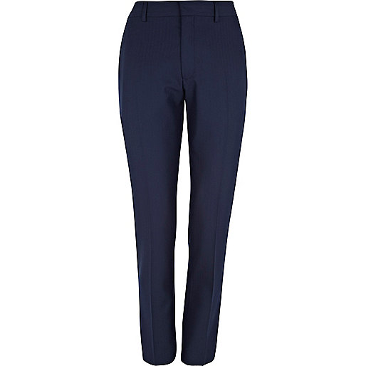 Navy herringbone skinny suit trousers