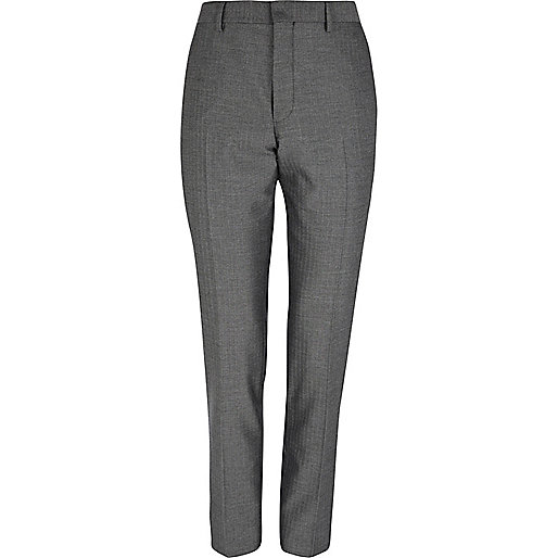 Grey herringbone skinny suit trousers