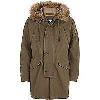 Khaki green borg lined parka jacket