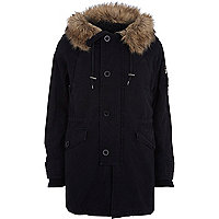 Black faux fur trim borg-lined parka