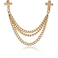 Gold tone cross chain collar tips