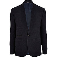 Navy textured inverted collar blazer