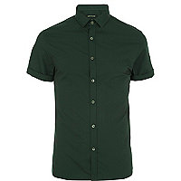 Dark green short sleeve poplin shirt