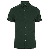 Dark green short sleeve poplin shirt