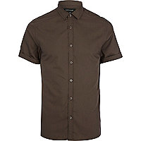 Brown short sleeve poplin shirt