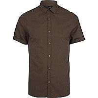 Brown short sleeve poplin shirt