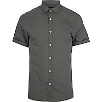 Dark grey short sleeve poplin shirt