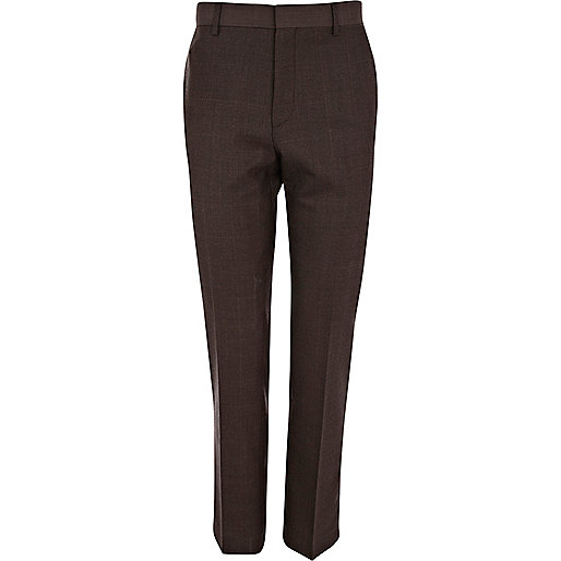 Dark brown check skinny suit trousers