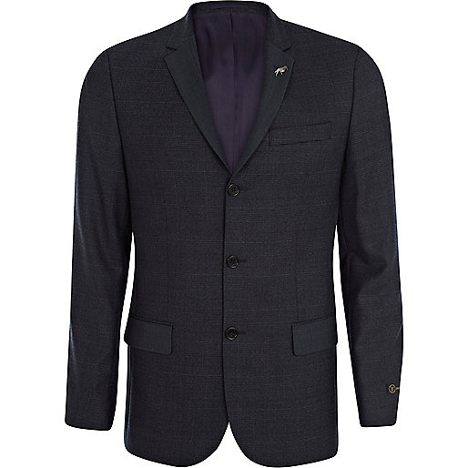 Dark blue check skinny suit jacket