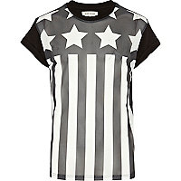 Black stars and stripes mesh front t-shirt