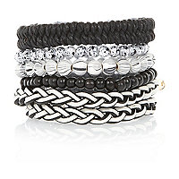 Black and white beaded and woven bracelets