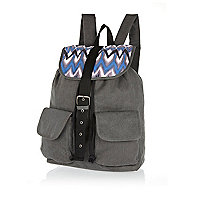 Grey ikat panel rucksack