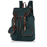 Dark green contrast trim backpack