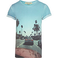 Blue sublimation photo print t-shirt