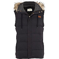 Navy faux fur trim gilet