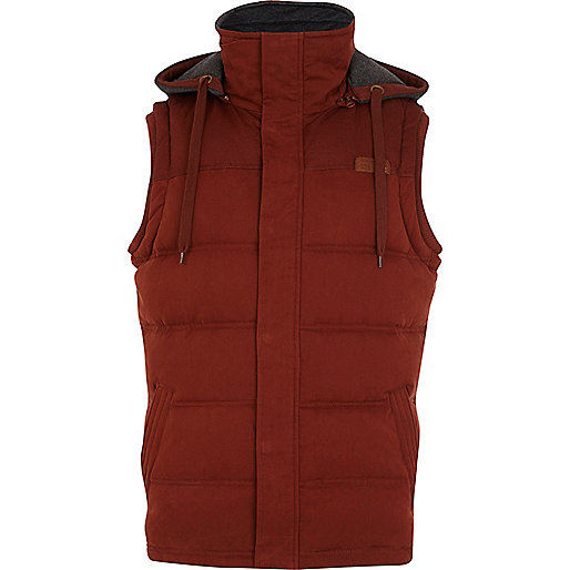 Rust red padded gilet