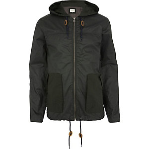 Dark green casual hooded bomber jacket