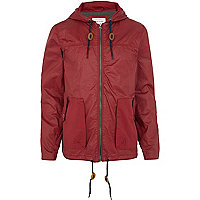 Dark red hooded bomber jacket