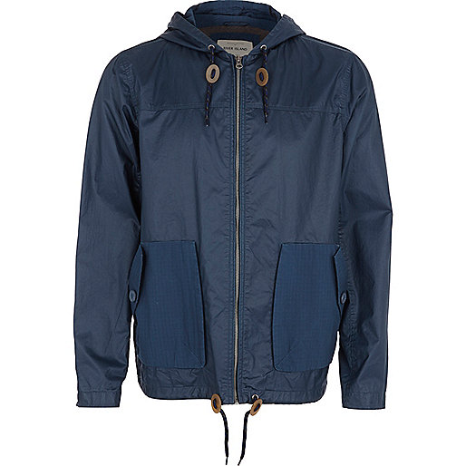 Blue casual hooded bomber jacket