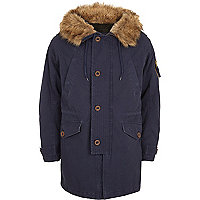 Blue faux fur trim borg-lined parka