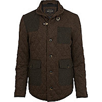Brown wool quilted jacket