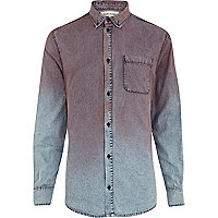 Pink acid wash dip dye denim shirt
