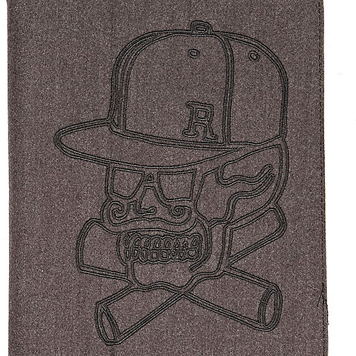 Grey skull embroidered iPad case