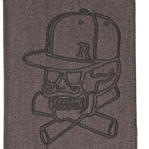 Grey skull embroidered iPad case