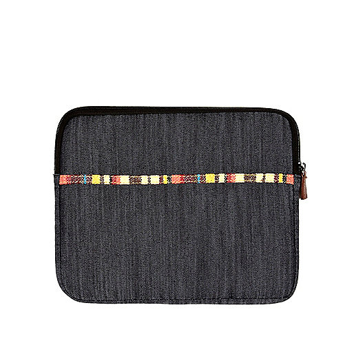 Navy denim aztec trim iPad pouch