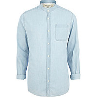 Light wash grandad collar denim shirt