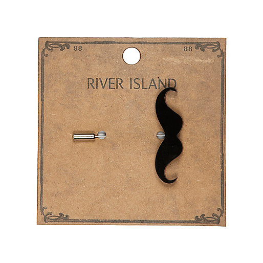 Black moustache lapel pin