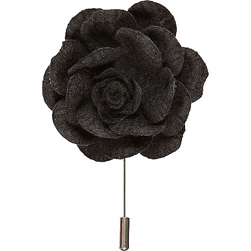 Black 3D flower lapel pin