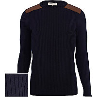 Navy quilted shoulder patch rib jumper