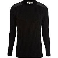 Black quilted shoulder patch rib jumper