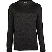 Black leather-look yoke jumper