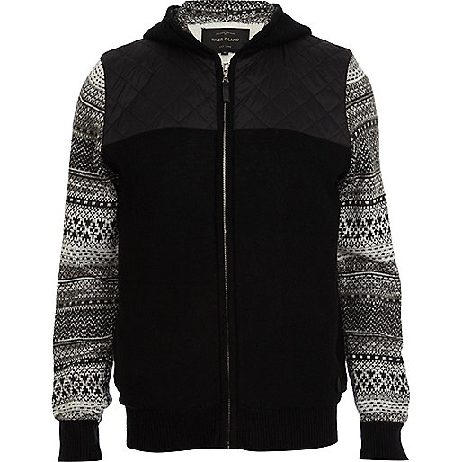 Black contrast sleeve borg hooded cardigan