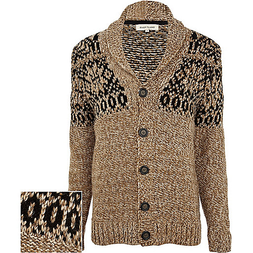 Brown fair isle yoke chunky knit cardigan