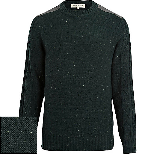 Green neppy shoulder patch jumper