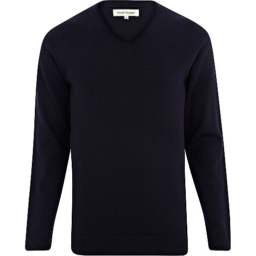 Navy V neck jumper