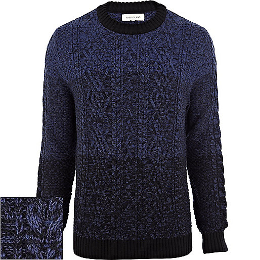 Blue gradated cable knit jumper