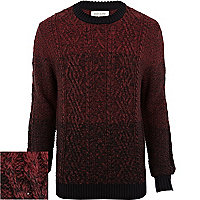 Purple gradated cable knit jumper